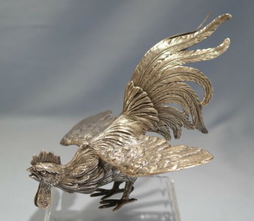 Italian 800 Silver Figure of Fighting Rooster 20th Century