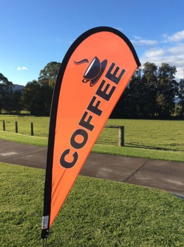 Coffee Small Teardrop Flag Double Sided | Great for cafes & coffee vans | Orange