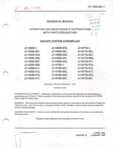 ACES II Ejection Seat Maintenance With Parts Breakdown Flight Manual -CD VersionOriginal Period Items - 156451