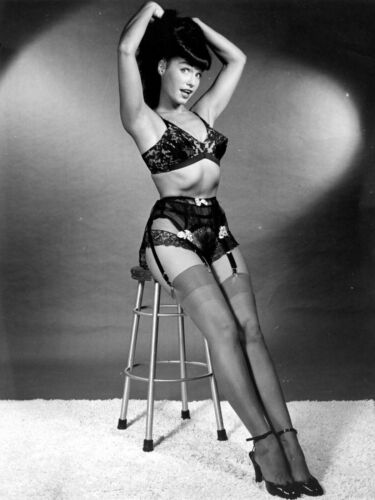Bettie Page Sit on Stool Black Lingerie 18X24 Poster Free Shipping #1001