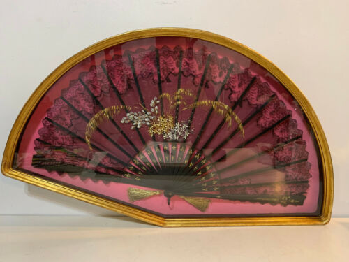 Antique Victorian Black Lace Fan Painted Floral Decoration Gold Shadowbox Frame