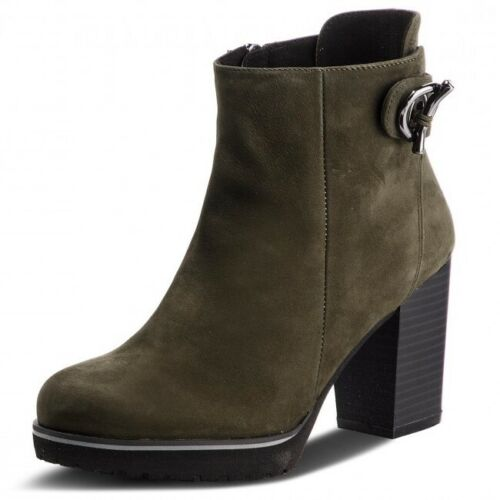 NEW!...CAPRICE KHAKI NUBUCK SUEDE ANKLE BOOTS WITH MOCK BUCKLE TRIM