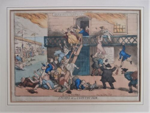 Fat Lady Jumping On People 1810 British Artist Thomas Rowlandson Color Etching