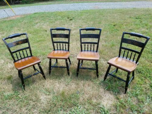 L. Hitchcock Dining Room Kitchen 4 Chairs Antique 1832 - 1843 Americana RARE!!