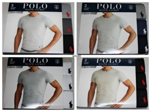 Polo Ralph Lauren SLIM FIT Three 3 Pack Cotton Crew Neck T Tee Shirt $42