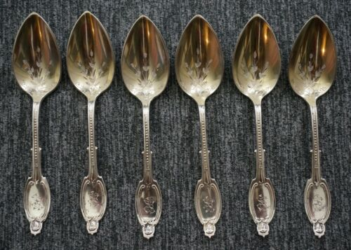 ALBERT COLES New York Coin Silver Gold Wash KENILWORTH DEMITASSE SPOONS (6)