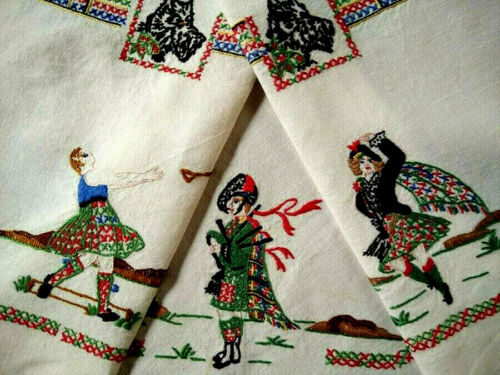 """Bonnie Scotland"" ~Hyland Dancer/Bagpiper/Scotty Dog Hand Embroidered Tablecloth"