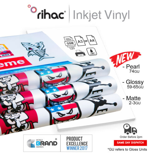 Vinyl Inkjet printable white sticker FREE POST A4 and A3 Glossy or Matte