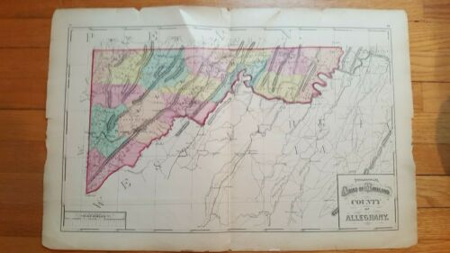 Antique/Hand Colored Topographical of ALLEGHANY COUNTY, MD - 1873
