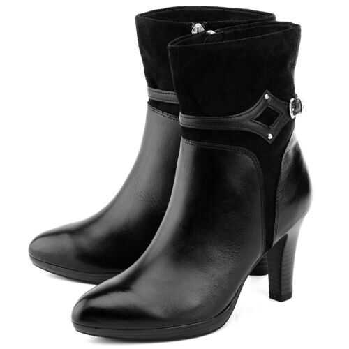NEW!...CAPRICE BLACK LEATHER  & SUEDE ANKLE BOOTS WITH MOCK BUCKLE TRIM