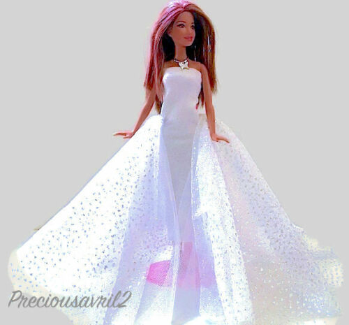 New Barbie doll clothes outfit wedding dress formal white sequin evening gown