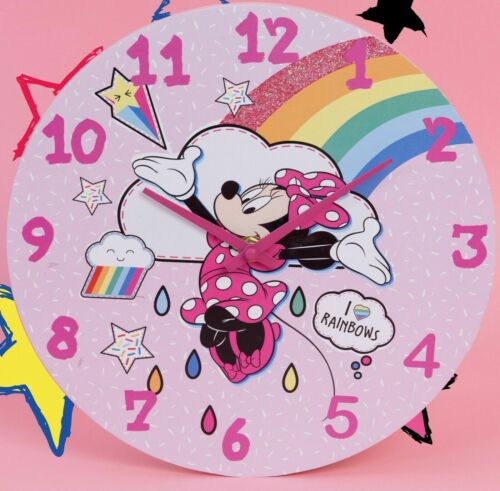 Disney Minnie Mouse Wall Clock - Rainbows Make Me Smile 25cm