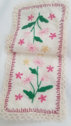 Sweet Hand EMBROIDERED Pinks Floral Doily