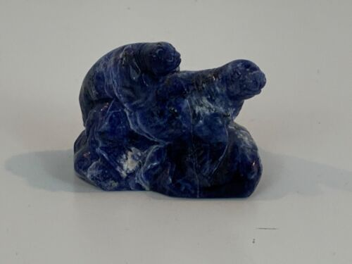 Vintage Possibly Antique Chinese Lapis Lazuli Sealion / Seal Figurine