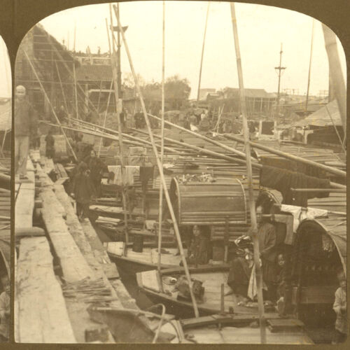 China, Canton: Houseboats on the Pearl River / Zhujiang - Old Stereoview Photo