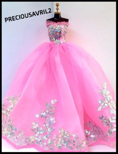 New Barbie doll clothes outfit princess wedding dress gown pink sequinned.