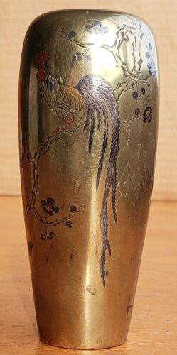 Antique Japanese Bronze Vase Inlaid with Mixed Metal Signed