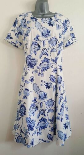 NEW ex Plus Size 16-24 Blue White Floral Cotton Lining Midi Tea Wedding Dress