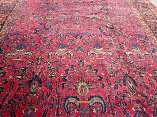 ANTIQUE  SAROUK ORIENTAL RUG LARGE__10.4 x 14.7_ABSOLUTELY A GREAT CARPET