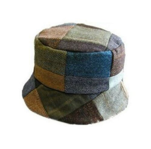 Donna Donegal Patchwork Tweed Casual Cappello Fatto A Mano IN Irlanda