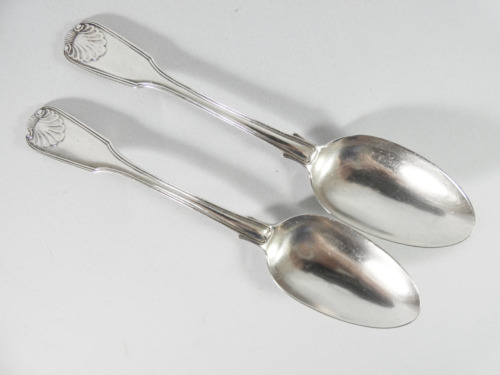 Antique Georgian 1838 Pair of Sterling Silver Tablespoons Fiddle, Thread & Shell