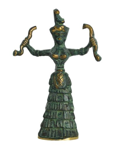 Snake Goddess Bronze small sculpture - Minoan period - Palace of Knossos Replica