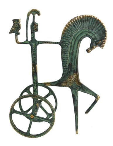 Goddess Athena on chariot bronze sculpture - Symbol of Wisdom Strength Strategy