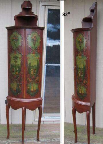 VTG QUEEN ANNE STYLE CORNER CABINET,  HAND PAINTED