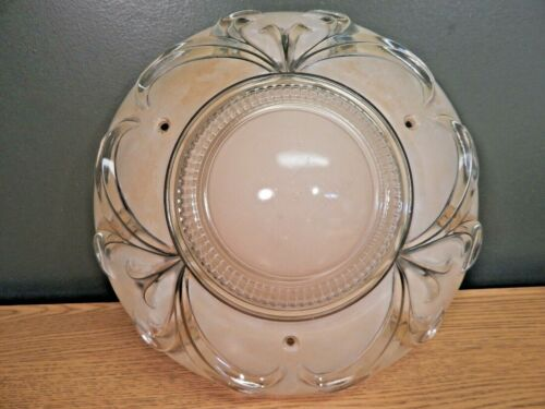ANTIQUE ART DECO 3 HOLE HEAVILY TEXTURED BEIGE GLASS CEILING FIXTURE SHADE