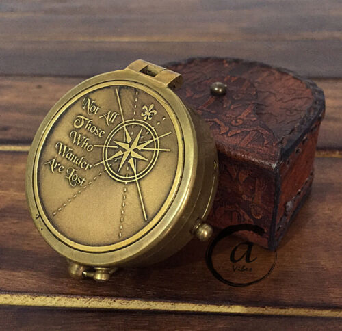 Christmas Vintage Style Engraved Brass Pocket Compass With Leather Case Compass.