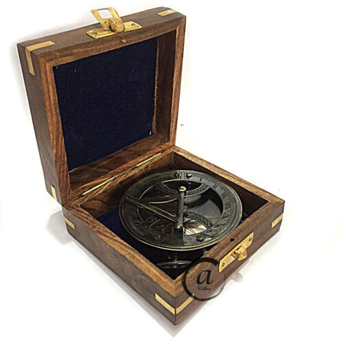 Vintage Steampunk Gift Wooden Box Vintage Compass With Sundial Retro Style