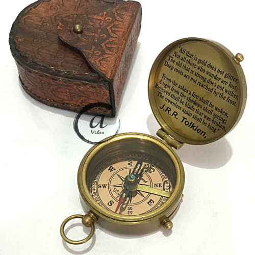 Christmas Engraved Compass With Case Leather Marine Nautical Gift Hiking/Camp