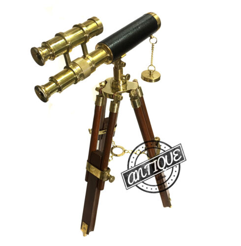 Christmas Antique Navy Double Barrel Brass Telescope with Tripod Stand Wooden