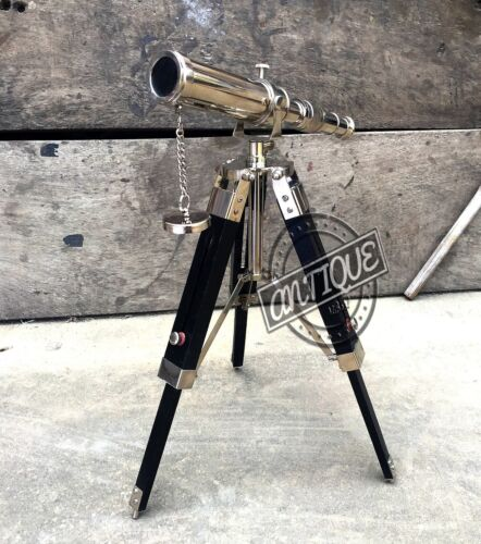 Vintage Vintage Table Tripod Wooden with Brass Telescope Stand Collectible