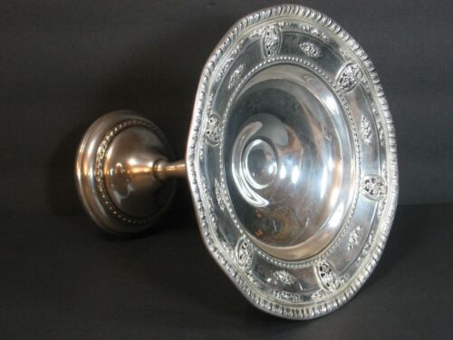 """Wallace Rose Point Sterling Silver Compote #4793 Ornate Ruffle Edge 6 3/4"""" Rare!"""