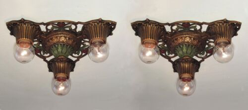 PAIR AVAILABLE! Classic Antique 1930s Virden Winthrop 3 Light Fixture RESTORED!