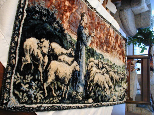 VINTAGE RELIGIOUS TAPESTRY 37X19 THE LORD AND HIS SHEEP WALL HANGING