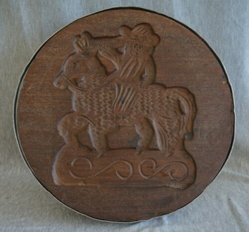 Wooden Hand Carved CHEESE PRESS / MOLD - Horse & Rider - LARGE & HEAVY!