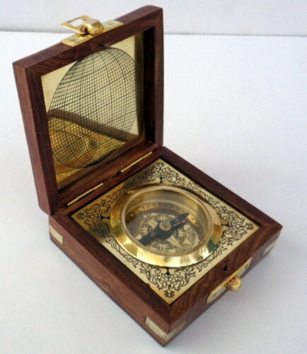 Nautical Maritime Antique Brass Compass In Wooden Box Vintage Steampunk Style