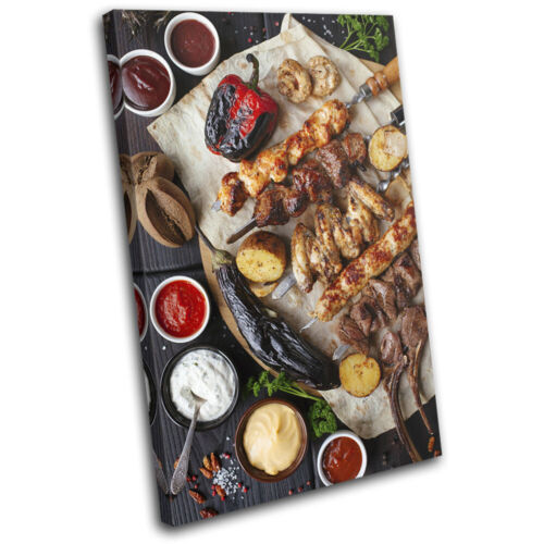Chicken Meat BBQ Barbecue Food Kitchen SINGLE TOILE murale ART Photo Print