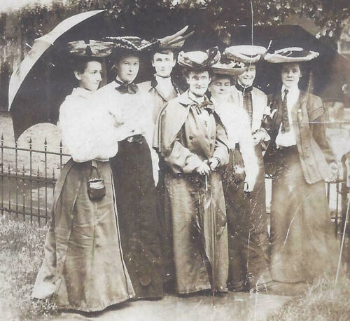 1900s SNAPSHOT PHOTO LADIES WITH UMBRELLAS LOOKS LIKE A SIDEWALK COVEN
