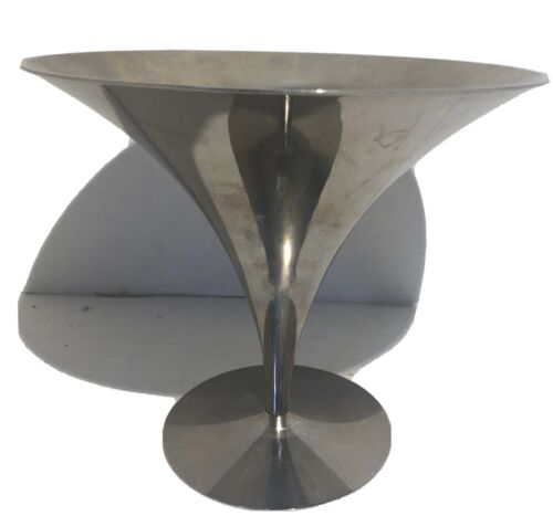 Mid Century Modern Arthur Salm Nickle Plated Silhouette Compote Bowl Dish