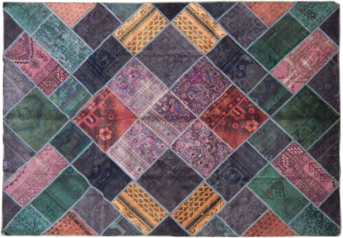 Colorful Patchwork Rug 88 x 124 in Vintage Wool Handmade 10x7 ft Rug Green Gold