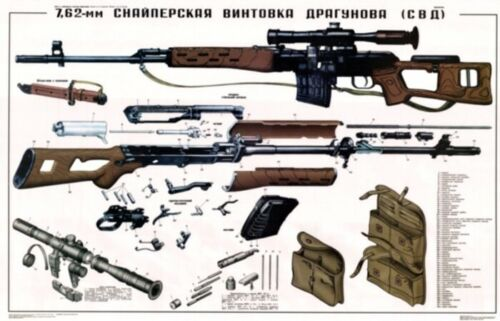 """*HUGE color POSTER 36x24"""" Soviet Russian PSO-1 Sniper Scope SVD Dragunov Rifle! Reproductions - 156447"""