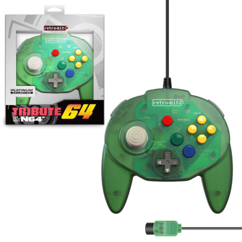Retro-Bit Tribute64 Forest Green Wired Controller for N64 NEW