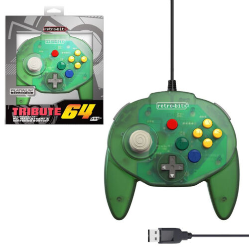 Retro-Bit Tribute64 Forest Green Wired Controller for PC NEW
