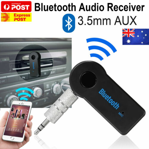 WIRELESS BLUETOOTH TO AUX 3.5MM AUDIO MUSIC RECEIVER STEREO CAR ADAPTOR PHONE