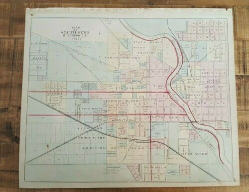 ANTIQUE Map 1875 - SOUTH BEND/ST.JOSEPH COUNTY, INDIANA / HISTORICAL ATLAS