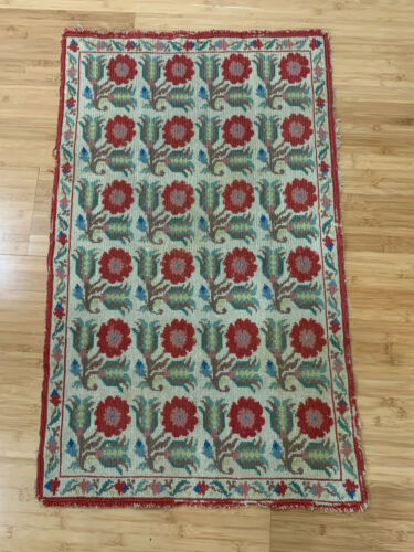 Vintage Antique Woven Rug / Tapestry w/ Repeating Red Flower Pattern Decoration