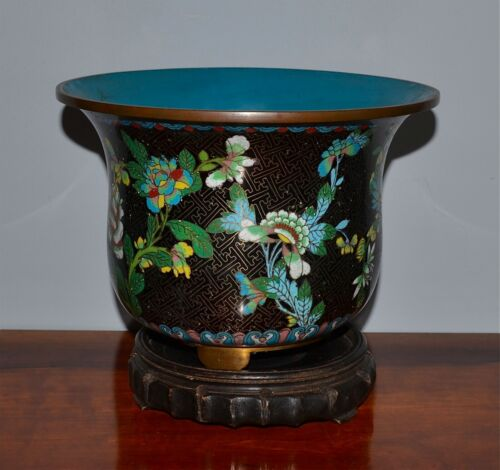 Antique Chinese Black-Ground Cloisonne Jardiniere Footed Wood Stand